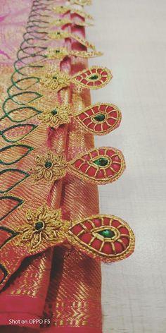 Saree Tassels Designs, Saree Kuchu Designs, New Blouse Designs, Bridal Blouse Designs, Bullion Embroidery, Hand Embroidery, Embroidery Designs, Diy Origami, Lehanga Saree