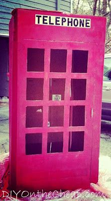 This is so cute! Convert a cardboard refrigerator box into a superhero phone booth for a kid's birthday party or playroom!