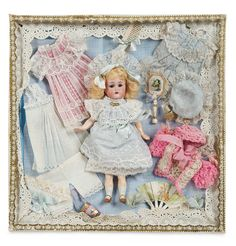 """Theriault's - 8"""" Bisque Miniature Doll by KR in Original Presentation Box with Costumes"""
