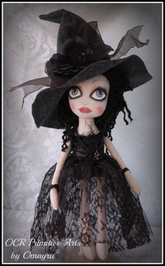 RAVEN Ooak collectible Art Witch Doll RESERVED by OCRLimitedArts