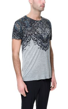 T-SHIRT WITH PAISLEY YOKE - T-shirts - Man - ZARA Singapore