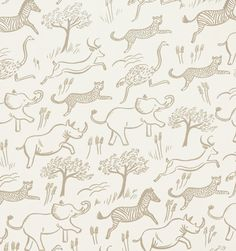 Safari wallpaper in Taupe by Rifle Paper Co.