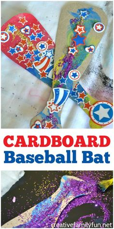 Cardboard Baseball Bat Kids Craft - Creative Family Fun - Grab a few supplies from the recycling bin and craft closet to make this fun colorful and glittery - Summer Sports Crafts, Summer Crafts For Toddlers, Sport Craft, Crafts For Kids To Make, Kids Sports Crafts, Children Crafts, Baseball Activities, Sports Activities For Kids, Baseball Crafts