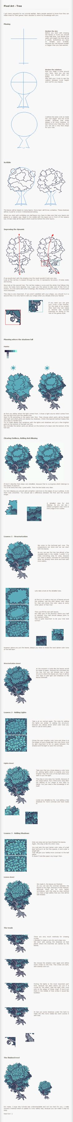 Pixel Art Tutorial - Tree by ~Kiwinuptuo