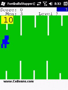 FootballsStopper©  The object of this game is to use the screen or joypad and direct your football character to catch the footballs on the 0 line. You get 10 points for each one you catch and 100 bonus and next round when you catch all ten. Free man every round after five.