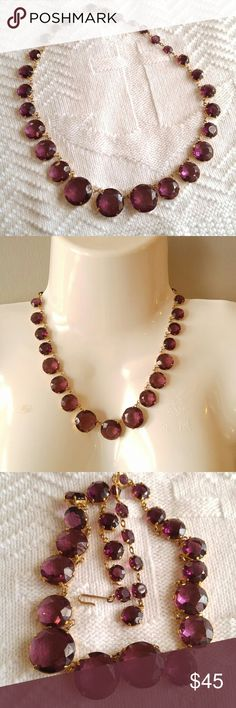 Gorgeous purple gem necklace! gold tone This beautiful necklace has a row of sparkly, juicy glass gems that are a wine reddish- violet that are set in gold tone metal. Hook clasp, adjustable length. This necklace is in like new condition and is from a smoke free home. This would be a wonderful accent to your holiday outfits! Offers welcome :)   FOXC81488GEM888 Jewelry Necklaces