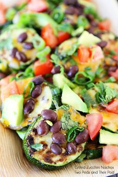 Grilled Zucchini Nachos-use zucchini as the chips and top with all of your favorite nacho toppings!