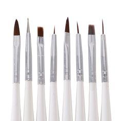 8Pcs/Lot Nail Art Decorations Makeup Brushes Handle maquaigem Manicure Dotting Painting Drawing Pen Diy Tools White Zebra Beauty