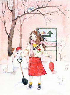 冬天-那仁_水彩,女孩,雪,冬天_涂鸦王国插画