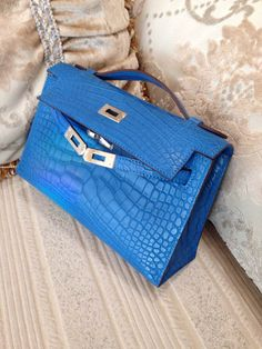 hermes bags - Hermes Kelly Pochette Clutch Blue Brighton Matte Alligator Phw ...