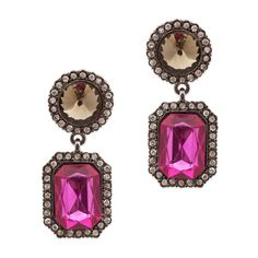 The two-drop fuchsia elegance of the Cassidy earrings will elevate any look. Hematite detail lends a modern edge to these classic staples bursting with CZ sparkle. Find it on Splendor Designs