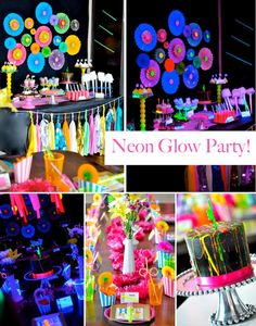 Neon-GLOW Party Inspiration Board by Bella Bella Studios ~ via Kara's Party Ideas 13th Birthday Parties, Birthday Party For Teens, Teen Birthday, 11th Birthday, Birthday Party Themes, 16th Birthday Ideas For Girls, Birthday Cakes, Glow Party, Spa Party