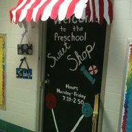 sweet shoppe themed classroom   Candy shop themed door, room and bulletin board. Made candy and hung ..