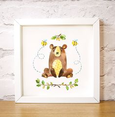 """Nursery wall art Big Bear Hugs is one of the Forest Friends animal set, modern art decor, custom add name print digital instant download A3, 16"""" x 16"""" 40x40cm large poster A3 size. This lovely watercolour image of a big cuddly teddy bear with bees buzzing round him surrounded by oak tree branches and acorns makes a lovely gift to welcome a new baby or as nursery wall art or as girl or boy bedroom art. by Latchfarmstudios"""