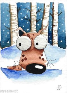 ACEO-Original-watercolor-whimsical-animal-painting-art-dog-into-the-woods-snow