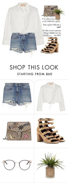 """""""- Ever saw -"""" by lolgenie ❤ liked on Polyvore featuring Alexander Wang, Alaïa, Gucci, Yves Saint Laurent and Garrett Leight"""