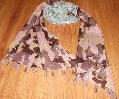 Women Steve Madden Multi Color Green Pink Camo Floral Scarf Fringe Camouflage #SteveMadden #any