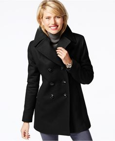 Black - Size XS    -  Kenneth Cole Petite Double-Breasted Peacoat - Coats - Women - Macy's