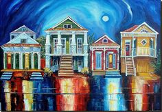 Homes of New Orleans by Diane Millsap:  An expression of joy, a statement of individuality, these are the homes of New Orleans, which can be found in all the old neighborhoods.  This painting has been sold.