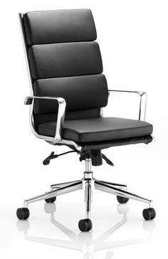 Atlanta Executive Leather Chair - A traditional looking chair in two great finishes including black and ivory - Black / High Back — Kit Out My Office