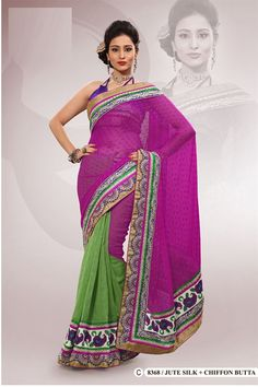 Purple Jute Silk,Chiffon Embroidered Saree With Blouse