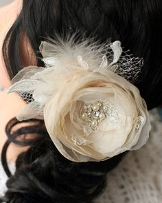 Wedding bridal hair accessories flower hair by LovelyFlowersField, $25.00