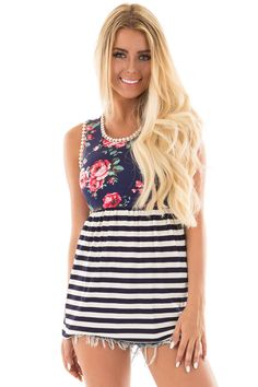 Lime Lush Boutique - Navy Striped Tank with Floral Contrast and Crochet Detail, $29.99 (https://www.limelush.com/navy-striped-tank-with-floral-contrast-and-crochet-detail/)