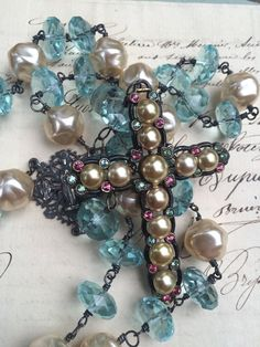 SOMETHING BLUE - Beautiful Blue Quartz and Vintage Glass Pearls Adorned With A Vintage Paste and Glass Pearl Cross