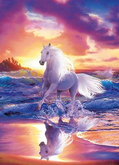 Dream-like imagery creates a mesmerizing scene as a beautiful white horse splashes through the ocean waves in this stunning wall mural. x 4 Panel Mural Paste Included Vinyl Coated Paper Most Beautiful Horses, Pretty Horses, Horse Love, Animals Beautiful, Painted Horses, Horse Mural, Horse Art, Animals And Pets, Cute Animals