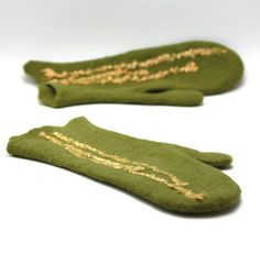 Felted mittens  olive green wool mittens  winter by AgnesFelt,
