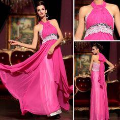 Off A-line Chiffon Lace Prom Dress Halter Floor-length Beading Evening Prom Dresses Homecoming Dresses Long, Prom Girl Dresses, Cheap Party Dresses, Sexy Party Dress, Trendy Dresses, Long Dresses, Pink Ball Dresses, Satin Dresses, Purple Dress