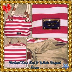 """⚓️Michael Kors Marina Stripped Canvas handbag Red Lovely Michael Kors Marina Striped Canvas Leather Grab Bag Purse Red & white   Natural cotton canvas in Red/White stripe with rope handles & mocha leather trim  Gold tone hardware  17"""" wide when fully expanded or 12"""" wide when snapped together x 9.5"""" tall x 7"""" deep  Leather tab snap closure  MK plate on front exterior  7.5"""" shoulder strap drop length  Whimsy anchor detailing - gives the bag a cute nautical theme... Michael Kors Bags Shoulder…"""