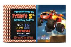 Personalized Blaze Birthday Party Invitations - Personalize and Print  ANY THEME available:  www.worksaheart.com  Kids Birthday Party Invitations, Baby Shower Invitations, Bridal Shower Invitations and more.   Print at home or in a store, PERFECT DIY Invite.   Gaming, Paw Patrol, Kids, Baby, Disney, Baymax, Boys, Girls, Bowling, Beach, Sports, Chevron, Baby, Cute, Custom, Love, Printable, DIY, Craft, Personalize, Fast, New, Download