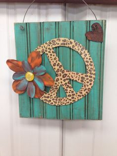 Repurposed wood leopard peace sign by RustinRose on Etsy, $25.00
