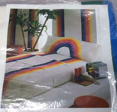 NOS Wamsutta Tomorrow's Rainbow Twin Flat Sheet Ultracale Fabric Vtg 70s NIP #Wamsutta #GayPride