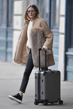 Olivia Palermo wearing Max Mara Fall 2015 Pure Cashmere Coat, Hermes Birkin Bag in Bordeaux Crocodile, J Brand L8007 Edita Leather Leggings and Roger Vivier High Top Sneaky Viv Satin Slip-on Sneakers