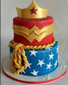 Fondant Wonder Woman three tier cake!
