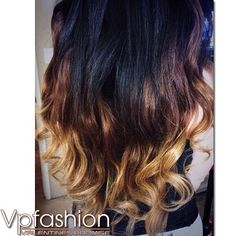 2014 hair color trends black brown and blonde three-tone ombre waves