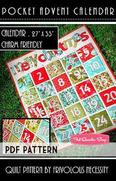Pocket Advent Calendar Downloadable PDF Quilt Pattern Frivolous Necessity - Christmas Cloth Store