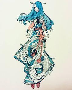 Whirlpool dress water girl illustration