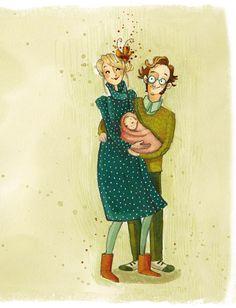 """""""Elle est née"""" aquarelle originale, exemplaire unique! : Peintures par anne-soline-sintes"""