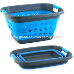 Collapsible Silicone Laundry Basket, Eco-Friendly Silicone with PP Handle