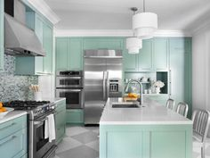 Furniture Design Models in Pretty Performance: Stunning Painted Floors In A Modern Kitchen Interior With Green Kitchen Furniture With White . Interior Ikea, Kitchen Interior, Kitchen Decor, Kitchen Ideas, Cheap Kitchen, Rustic Kitchen, Interior Design, Wooden Kitchen, Kitchen Inspiration