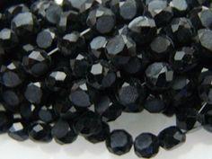 Cristal Alemán Negro Facetado COIN 6mm Se vende por tira de 100 piezas. $ 21.00 mn