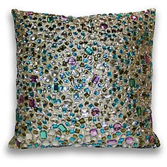 Add a touch of elegance to your home decor with this peacock gemstone pillow. This 17-inch decorative pillow features a hidden zipper closure.