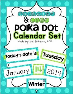 Do you have a fantastic blue and green theme in your classroom? Looking to brighten up your room? If so, this is the perfect calendar set for your classroom! This turquoise & lime polka dot calendar set contains cards for: - Months of the year - Days of the week (two sizes provided) - Year (2016-2019) - Season - Numbers 1-36 (can be used for