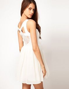 d711decf41 Asos Prom Dress with Lace Back Detail in Beige (cream)