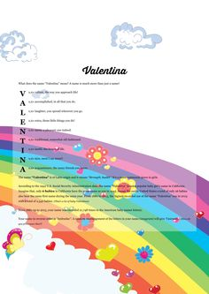 The #namemeaning of #Valentina using Cartoon Rainbow from the project pack Abstract. Unique #giftideas and #personalizedgifts for #babynames