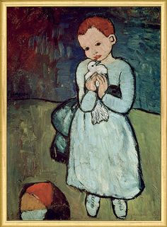 """Girl with Dove"": This world-famous painting of 1901 marked the beginning of Picasso´s Blue Period.  A theme of delicate expressivity, in which ""soledad"", the typical Spanish melancholia, can already be traced."