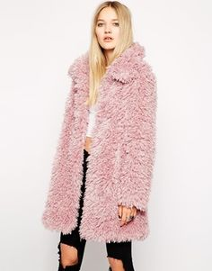 $198, Pink Textured Coat: Unreal Fur De Fur Coat In Dusty Pink. Sold by Asos. Click for more info: http://lookastic.com/women/shop_items/87642/redirect